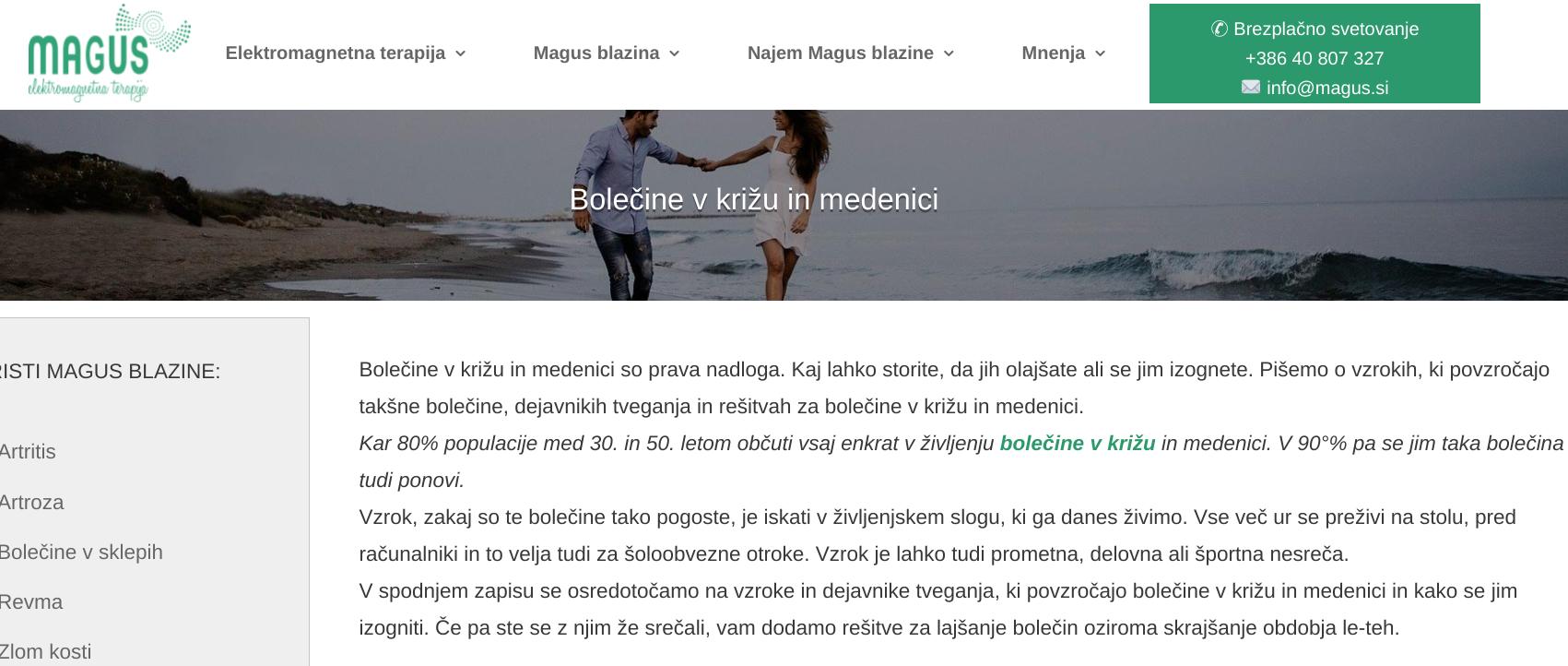 spletni marketing - bolečine v križu in medenici